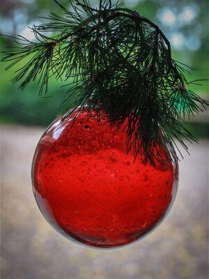 julekugle kæmpe hindbærrød