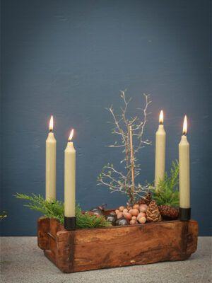 Adventsstage murstensform til bedelys/kronelys